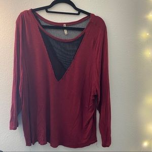 Red long sleeve T-shirt with mesh detail